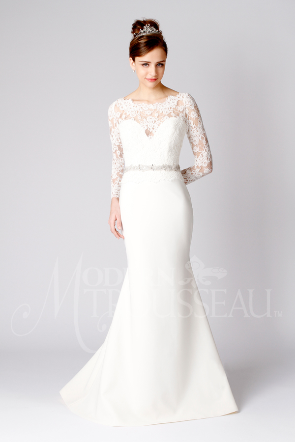 Long Lace Sleeve Wedding Dress with Deep V-neck Bodice and Fit-to-Flare Crepe Skirt by Modern Trousseau. Made in the USA by Modern Trousseau.