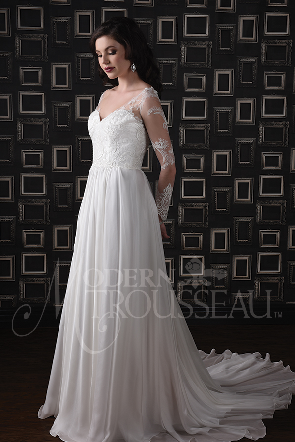 Sweetheart Wedding Dress with sheer illusion sleeves features lace bodice and chiffon skirt with chapel train by Modern Trousseau. Made in the USA by Modern Trousseau.