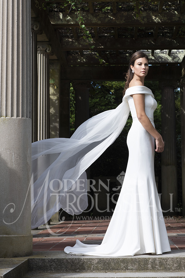 Strapless Fitted Wedding Dress with Detachable Cape by Modern Trousseau. Made in the USA by Modern Trousseau.