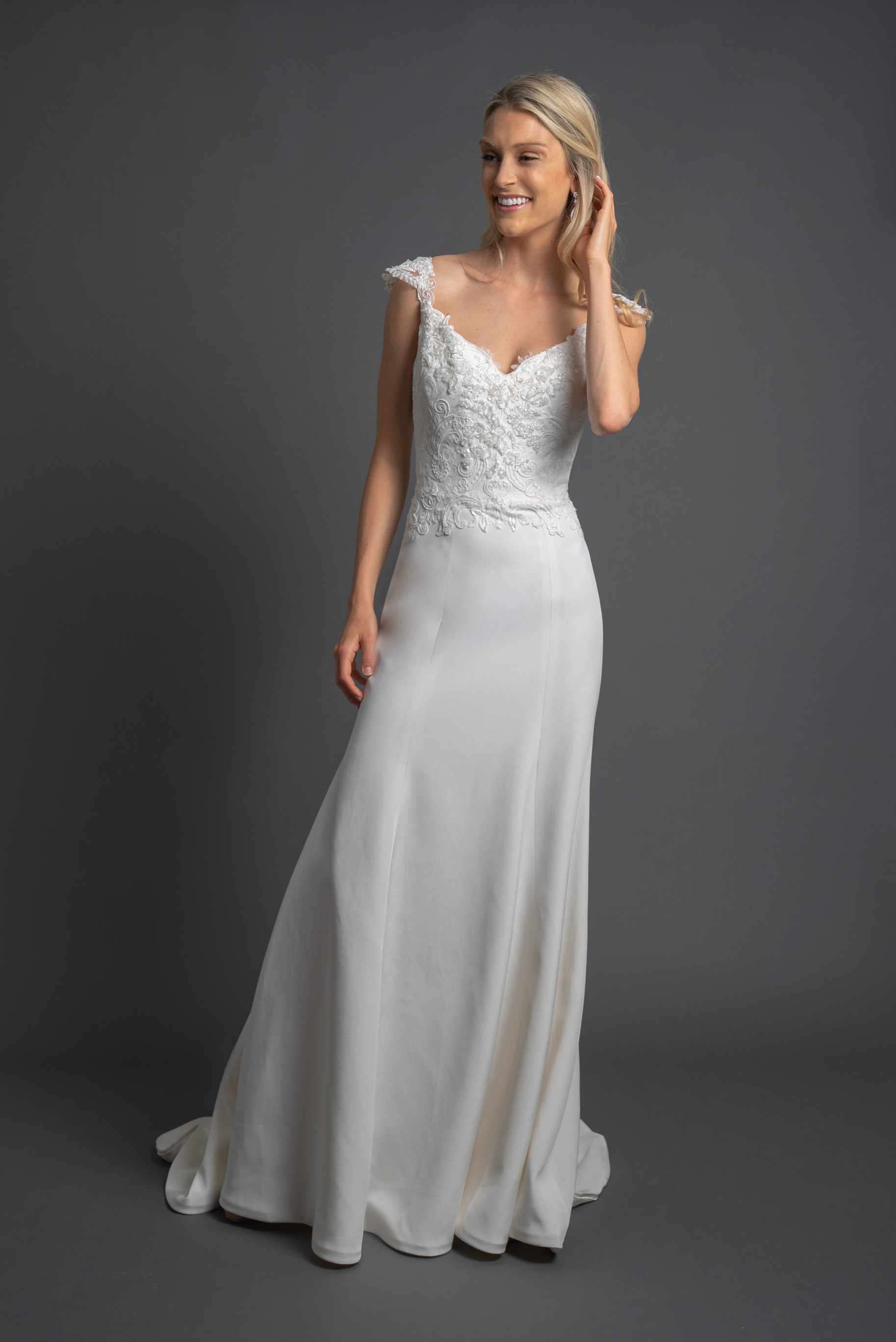 Cap Sleeve Sweetheart Neckline Wedding Dress with Beaded Bodice and Straight Skirt by Modern Trousseau. Made in the USA by Modern Trousseau.