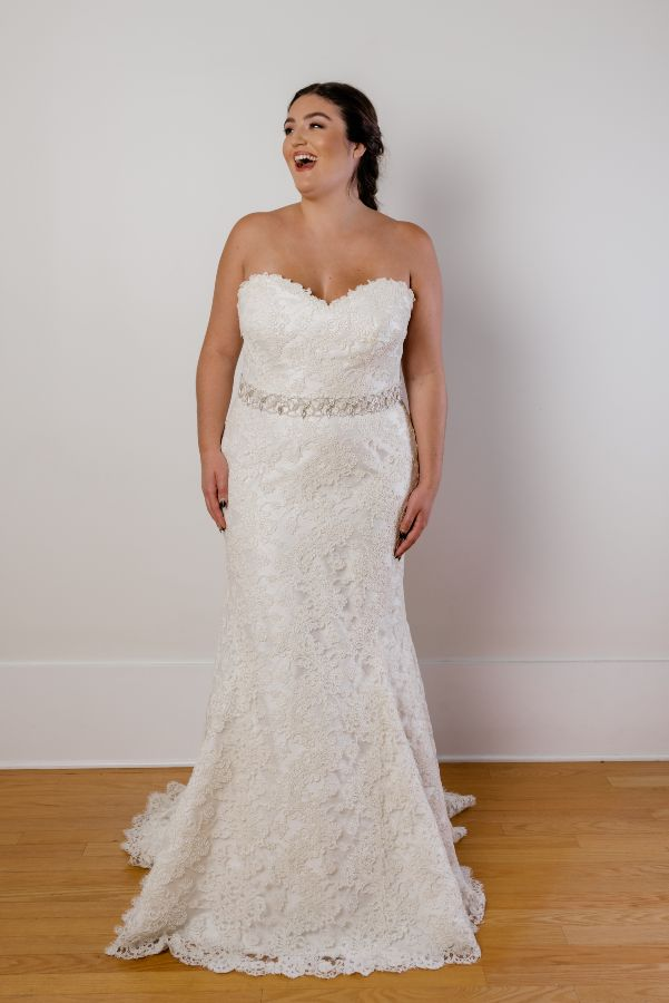 strapless plus size lace fitted wedding gown